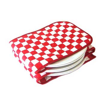 Red & White Check Electric Plate Warmer